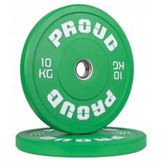 Obciążenie olimpijskie 10 kg TRAINING BUMPER PLATE COLOUR PROUD (zielone)
