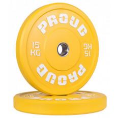 Obciążenie olimpijskie 15 kg TRAINING BUMPER PLATE COLOUR PROUD (żółte)