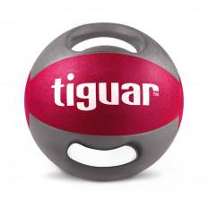 Piłka lekarska z uchwytami 9kg tiguar (malina)