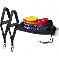 POWER BANDS zestaw 4 gum oporowych + Uchwyt Treningowy 2 Sztuki XMOR
